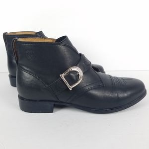 Ariat Black Leather Ankle Boots 8 B Monk Strap